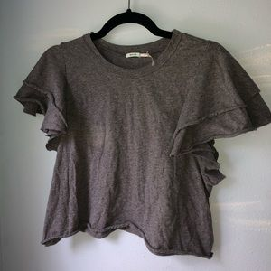 Grey crop top with ruffle sleeves